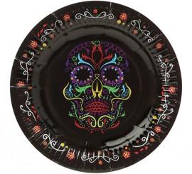 Pack de 6 Assiettes avec Décoration Dia de los Muertos 17 cm