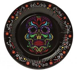 Pack de 6 Assiettes avec Décoration Dia de los Muertos 23 cm