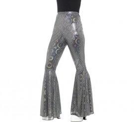 Pantalones de Campana Plateados para mujer