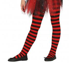 Pantys Rojos con Rayas Negras para niños