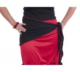 Pañuelo flamenco para cadera negro con ribete rojo