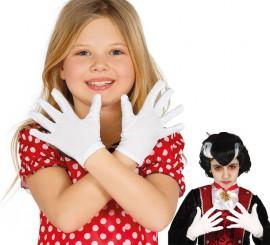 Par de guantes infantiles blancos de 22 cms.