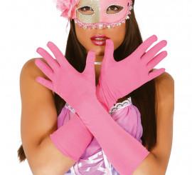 Par de guantes largos rosas
