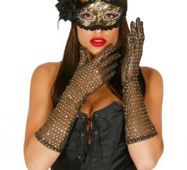 Par de guantes lentejuelas oro 42 cm.