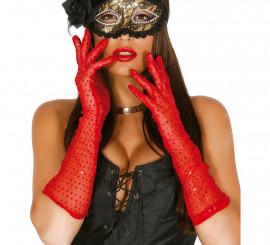 Par de guantes lentejuelas rojo 42 cm.