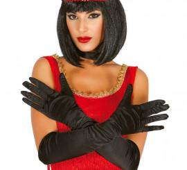 Par de guantes satinados negros 51 cm.