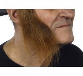 Patillas anchas con pelo castaño
