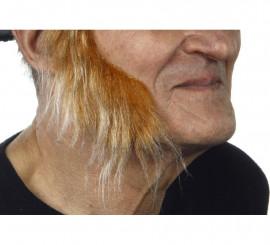 Patillas anchas con pelo castaño canoso