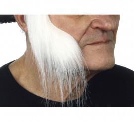 Patillas anchas con pelo blanco