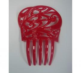Peineta flamenca grande de 19.1 x 13.1 cm en color rojo
