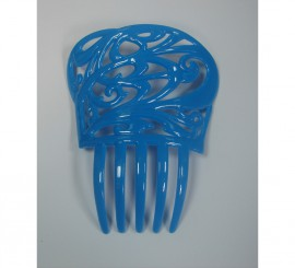 Peineta flamenca pequeña de 13.6 x 11 cm en color azul