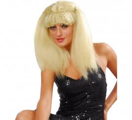 Peluca afro mujer Pop rubia con coletas y flequillo