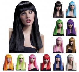 Perruque longue Alexia avec frange en différentes couleurs
