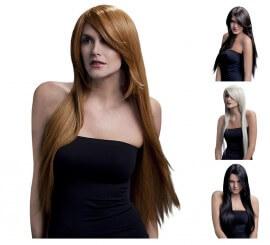 Perruque Amber longue lisse avec franche dégradée en différentes couleurs