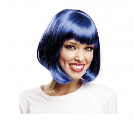Peluca Cabaret azul con flequillo