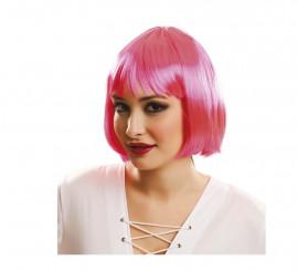 Peluca Cabaret rosa con flequillo