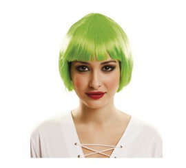 Peluca Cabaret verde con flequillo