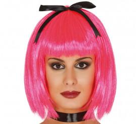 Peluca corta rosa con lazo negro