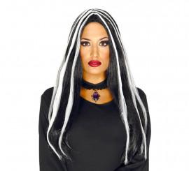 Perruque de Sorcière Noire à mèches blanches Halloween