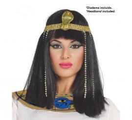 Peluca de Egipcia lisa negra