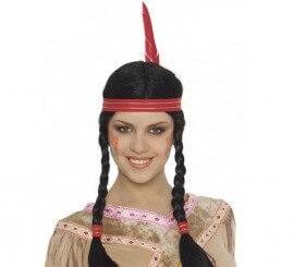 Peluca de India con cinta y pluma