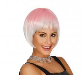 Peluca de media melena rosa y blanca