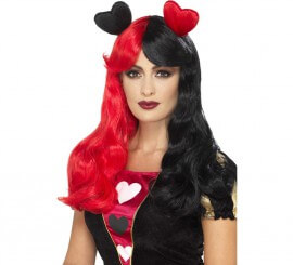 Perruque Reine de coeur Rouge et Noire
