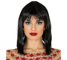 Peluca Egipcia Negra con reflejos