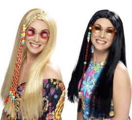 Perruque Hippie avec mèche perlées pour Femme en différentes couleurs