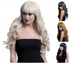 Perruque longue Isabelle frisée avec frange en différentes couleurs