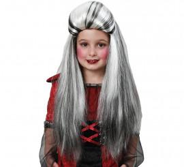 Perruque Extra Longue Lisse Blanches et Noire pour enfants