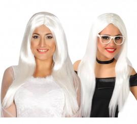 Peluca melena blanca larga para Halloween