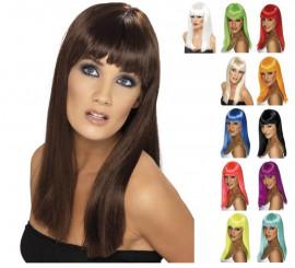 Perruque longue lisse avec frange en différentes couleurs