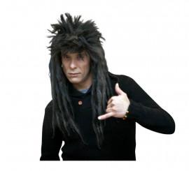 Peluca Melena Punk con rastas negra