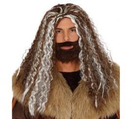 Peluca melena rizada con barba de Bárbaro