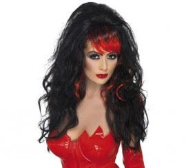 Perruque Noire Longue avec Mèches Rouges