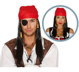 Peluca negra larga y pañuelo Pirata