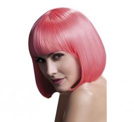 Peluca rosa pastel brillante con flequillo de gama alta