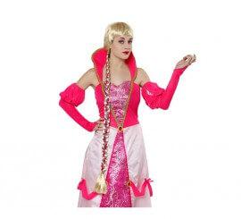 Peluca rubia de Rapunzel con trenza larga