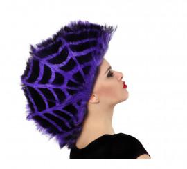 Peluca Telaraña púrpura y negra con cresta para Halloween