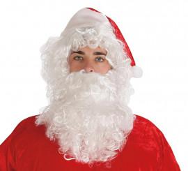 Peluca Y Barba Blanca Papá Noel con gorro