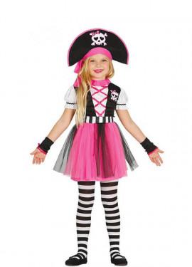 Pirata Calavera rosa con Túl para niña
