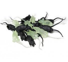 Saco de 20 Ratas negras y fluorescentes