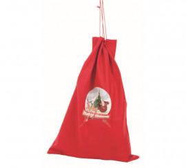Saco de Papa Noel rojo con adorno de Santa Claus