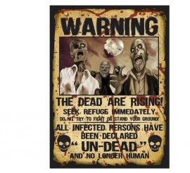 Set 2 Letreros Warning Zombies 38X28 cm