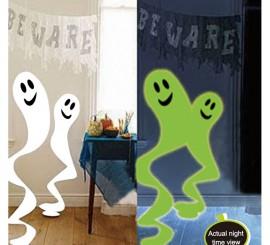 Set 3 Colgantes Fantasmas Fluorescentes 90 Cm