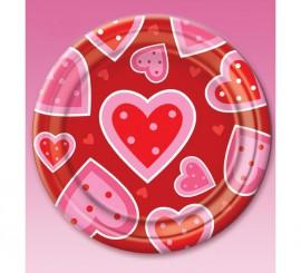Set de 8 Platos de cartón de corazones de 22,9 cm