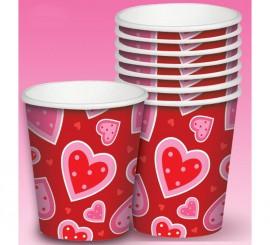 Set de 8 Vasos de cartón de corazones