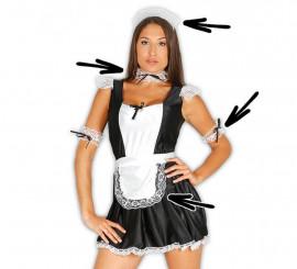 Set de camarera: cofia, collar, delantal, muñequeras