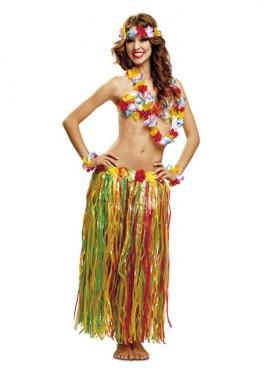 Kit Hawaiana Deluxe: Corona, collar, pulseras, sujetador y falda